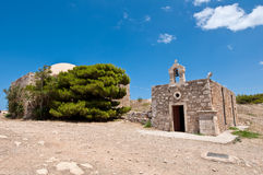 Church of Agia Ekaterini on the top of the Fortezza, Crete. Greece. Stock Images