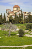 Church of Agia Triada in Athens. Church of Agia Triada (Holy Trinity) and remains of ancient cemetery in the Kerameikos Quarter of Athens (Greece Stock Photography