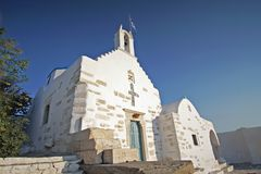 The church of Agios Konstantinou, a traditional cycladic church with blue dome in the town of Paroikia. Paros, Greece european holiday landmark home cyclades royalty free stock photography