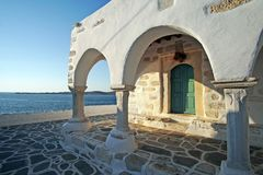 The church of Agios Konstantinou, a traditional cycladic church with blue dome in the town of Paroikia. Paros, Greece european holiday landmark home cyclades stock image