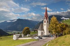 Mountain church in South Tyrol stock photography