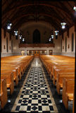 Church aisle. Looking back from altar Stock Photography