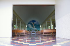 Church Aisle and Altar in La Fortuna royalty free stock photos