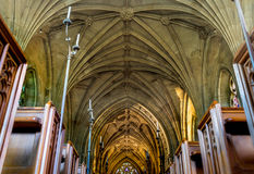 Church aisle from low angle Royalty Free Stock Photo