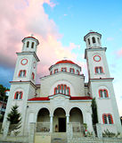 Church in Albania. Pretty two tower church on the main square of the town of Berat, Albania at sunset , frontal view royalty free stock photos