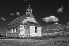 Church in the Alberta badlands Stock Image
