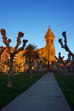 Church in Algorta at sunset with golden light Stock Photography