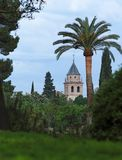 Church in Alhambra palace seen from Alhambra garde Stock Photos
