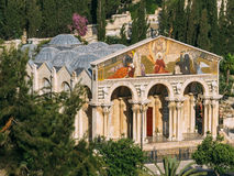The Church of All Nations. Also known as the Church or Basilica of the Agony, is a Roman Catholic church located on the Mount of Olivesin Jerusalem. The facade Royalty Free Stock Photos
