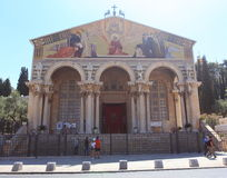 Church of All Nations Facade, Jerusalem. View of the façade of the Roman Catholic Church of All Nations, also known as the Church or Basilica of the Agony stock photos