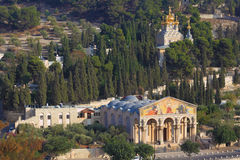 Church of All Nations. And the golden domes of the Church of Mary Magdalene. Mount of Olives in East Jerusalem stock images