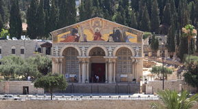 Church of All Nations, Mount of Olives, Israel. View of the Roman Catholic Church of All Nations, also known as the Church or Basilica of the Agony, located on Stock Image