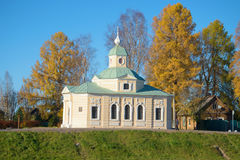 Church of `All Saints` on Rimsky-Korsakov Street in the sunny October afternoon. Tikhvin, Russia Royalty Free Stock Image