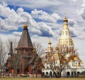 Church of All Saints and wooden Trinity Church. Minsk Stock Photo