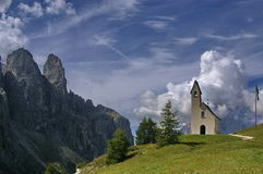 Church on alps. A little church on italian dolomites Royalty Free Stock Image
