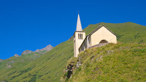 Church on alps. View of a mountain chapel on alps, riale location Stock Image