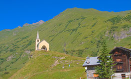 Church on alps. View of a mountain chapel on alps, riale location Royalty Free Stock Image