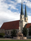 Church in Altötting. The image shows a church in Altötting (Bavaria, Germany), near the popes birthplace. The chapel has two peaked towers and a red roof. On stock photos