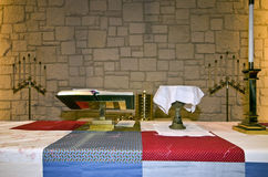 Church altar. S with quill ready for communion Stock Image