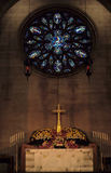 Church altar. Decorated altar before the church service starts Stock Image