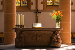 Church Altar Cross Bible Plants Close Decoration Religious Catho Royalty Free Stock Image