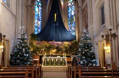 Free Church Altar In The Christmas Time, Saint Francis Of Assisi Church In Zagreb Royalty Free Stock Image - 137315676