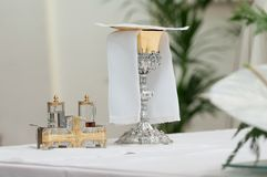Church altar during mass. On a wedding Royalty Free Stock Images