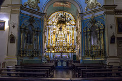 Church altar. Sao Paulo, SP, Brazil. August 12, 2016. Church altar inside the Seraphic Father's Wounds of San Francisco, the Largo de Sao Francisco, downtown Sao Royalty Free Stock Image