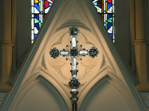 Church alter. With stained glass window Royalty Free Stock Photography