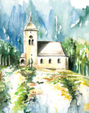 Church in Altmunster. North Austria.Picture I have painted myself,than scanned Stock Photos