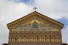 Church of Amalfi. Amalfi Cathedral - Gold decorated facade. Best of Italy Stock Image