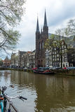 Church on an Amsterdam canal Royalty Free Stock Image