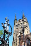 Church and anchor statue, Tamworth. Royalty Free Stock Photos