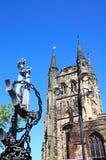Church and anchor statue, Tamworth. Royalty Free Stock Photos