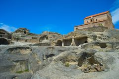 Church ancient cave town of Uplistsikhe, Georgia royalty free stock photo