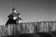 Church in the ancient fortress against the sky. Monochromatic, black and white image. History, ancient, religion Royalty Free Stock Photo