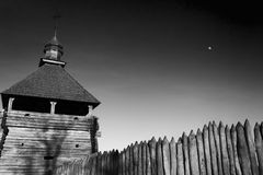 Church in the ancient fortress against the sky. Monochromatic, black and white image. History, ancient, religion Stock Image
