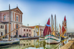 Church and ancient sailboats on Canal Port Royalty Free Stock Photo