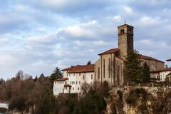 Church And Houses On The Natisone River In Cividale Del Friuli. On A Cloudy Day. Stock Images