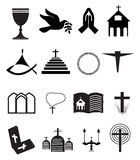 Church And Other Christian Symbol Icons Set Stock Image
