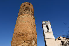 Church anf Medieval tower of village of Cruilles, Stock Photos