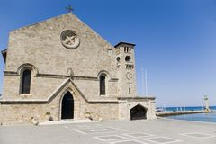 The Church of the Annunciation. This interesting church is located in the New City of Rhodes, north of the harbour Stock Image
