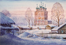 Church of the Annunciation in Solvychegodsk. Russia. Watercolor Stock Photography