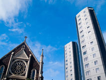 Church and apartments Auckland University Stock Photography
