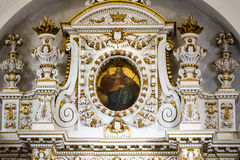 Church apse. Ornate architecture inside church apse with gold gilt royalty free stock photography
