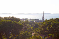 Church of Arcachon from a tower near the sea Stock Photography