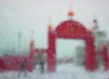 Church arch gate. Red bricks church arch gate, winter blur Stock Images