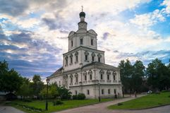 Church of the Archangel Michael in Andronikov Monastery, Moscow. Brick three-story Church of the Archangel Michael in the Moscow Baroque style was built in Stock Photos