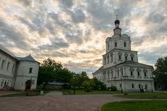 Church of the Archangel Michael in Andronikov Monastery, Moscow, Russia. Brick three-story Church of the Archangel Michael in the Moscow Baroque style was built Royalty Free Stock Image