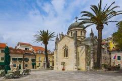 Church of Archangel Michael on the Herceg Stefan`s square. Herceg Novi, Montenegro Stock Photo
